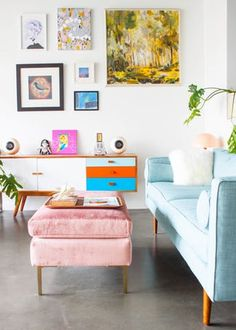 Before she started decorating the small studio apartment she owns, Suki set out to create a space that felt like a vacation home. Yes, minimalism can be colorful and fun, too!