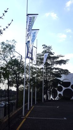 Flags done at Burchmores Sandton. Building Signs, Your Location, Flags, Signage, Banner, Branding, Beach, Outdoor, Construction Signs