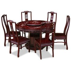 48in rosewood round dining table with 6 chairs flower u0026 bird design pearl inlay