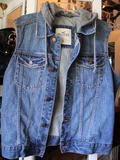 Hollister Blue Denim Jean Jacket Vest Men X-Large Trucker #Hollister #JeanJacketVest
