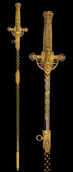 Martin-Gullaume Biennais (1764-1843) - Napoleon's Dress Sword. Gold, Enamel, Steel and Tortoiseshell. Circa 1764. National Museum. Stockholm, Sweden.