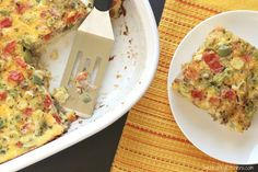 Loaded with bountiful veggies, this hearty egg bake will keep you full without weighing you down! Great for holiday brunches or make-ahead breakfasts!