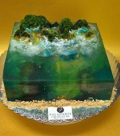 Ocean Cakes, Beach Cakes, Pulled Sugar Art, Lake Cake, Island Cake, Jello Cake, Mermaid Cakes, Cake Decorating Techniques, Cake Tutorial
