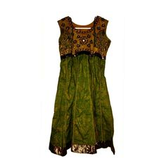 VINTAGE Beaded Floral Gypsy Inspired Dress - Olive Green & Gold