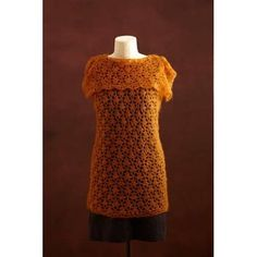 New Lace Tunic (Crochet) - Lion Brand Yarn Crochet Lion, Crochet Vests, Crochet Tops, Lion Brand Yarn, Lace Tunic, Crochet Projects, Shawl, Crochet Patterns, Short Sleeve Dresses