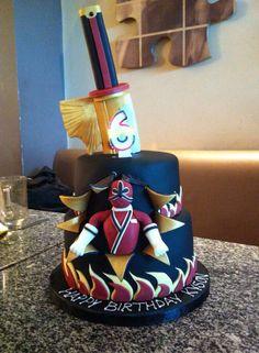 Power ranger cake Bolo Power Rangers, Power Rangers Birthday Cake, Power Ranger Cake, Power Rangers Samurai, Boy Cakes, Cakes For Boys, 4th Birthday, Birthday Cakes, Cupcake Cakes