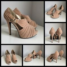 Nude suede look heels, size 8.5 Very cute nude suède look heels with side buckle. Decorative draping all over the shoes. Gently worn. Qupid Shoes
