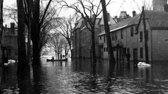 Flooded streets in Fredericton in the spring of 1936 — which, like 2018, was a major flood year along the banks of the St. John River and its tributaries. (New Brunswick Provincial Archives)