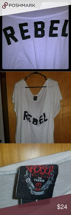 🖤Rebel Wilson shirt🖤 Part of the Rebel Wilson clothing line for Torrid. Loose fitting white shirt with tiny black beads spelling Rebel. Excellent condition. Unleash your inner Rebel today! torrid Tops Tees - Short Sleeve