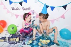 Double cake smash! Sibling cake smash! Brother and sister together.