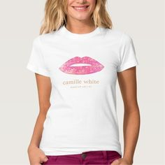 Fun Girly Makeup Artist Pink Sequin Lips Tshirt