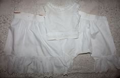 Antique Three Piece Doll Undewear Set-Slip, Chemise, Bloomers Late 1800s