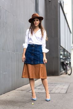denim skirt with leather skirt and button down shirt