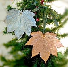 There are a lot of metal dipped leaves - maybe try spray paint leaves for a similar look