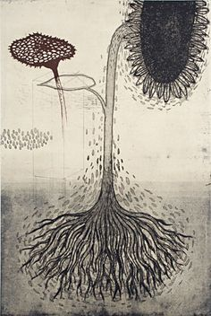 Akiko Taniguchi. Follower of Helios, 2008. Etching and chine colle. Edition of 6. 36 x 24 inches.