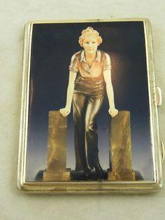Art Deco  Cigarette Case 1930 Sterling Silver Flapper Girl Hallmarked A. Wilcox, Chester, England