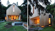 maison en bois architecte grande baie vitrée
