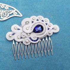 White & Sapphire Soutache comb,  Wedding Hair Accessory, Soutache , Wedding Hair