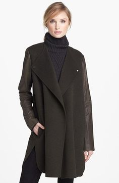 Vince Leather Sleeve Double Face Wool Coat | Nordstrom available in Army Green or Black