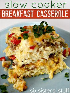 Overnight Sausage Breakfast Casserole - Prep this slow cooker breakfast recipe the night before and enjoy it Easter morning. Your family will love this slow cooker breakfast casserole recipe.