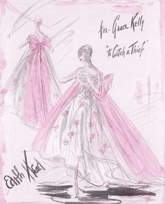 Edith Head vintage costume sketch for Grace Kelly in To Catch A Thief