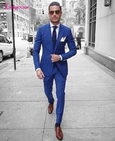 2017 Latest Coat Pant Designs Navy Blue Men Suit Slim Fit Tuxedo 2 Piece Blazer Prom Fashion Groom Tailor Suits Terno Masculino – Jack's Jackets Blue Suit Brown Shoes, Navy Blue Suit, Bright Blue Suit, Blue Fitted Suit, Blue Suit Groom, Blue Suit Style, Best Blue Suits, Royal Blue Mens Suit, Style Bleu
