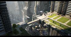 Future City, Futuristic City, Sci-fi City Downtown by JadrienC on City Landscape, Fantasy Landscape, Landscape Design, Futuristic City, Futuristic Architecture, Fantasy City, Sci Fi Fantasy, Environment Concept Art, Environment Design