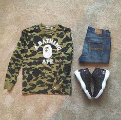 #bape #sweatshirt #nudiejeans #jordan11 #72-10 Teen Boy Fashion, Tomboy Fashion, Dope Fashion, Urban Fashion, Mens Fashion, Bape Outfits, Swag Outfits, Cool Outfits, Jordan 11 Outfit