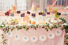 """Fromage"" (Cheese) table by Styled By Belle at the vintage pink & gold 50th Party / Lee Bird Photography"