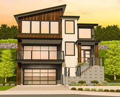 Designed for a narrow sloping lot, this Modern house plan has lots of space and plenty of good looks.From the garage, head up three steps to the landing where there's a sunken home office with powder room.The main living area on the second level is all one big space with sliding glass doors to a front covered lanai.The top floor belongs to the sleeping area where double doors open to the master suite.An added convenience is the upper floor laundry room that has a door to the master bathroom.