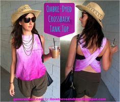 Ombre-Dyed Crossback Tank Top