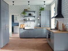 8 Best Inspiration For Grey Kitchen Design Ideas Ikea Bodbyn Kitchen, Grey Kitchen Cabinets, Upper Cabinets, Kitchen Walls, Blue Cabinets, Cupboards, Kitchen Interior, New Kitchen, Kitchen Decor