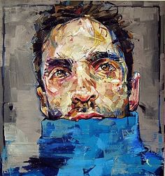 "maurozag: "" Andrew Salgado - Prussia (Self Portrait in Prussian Blue) "" Abstract Face Art, Abstract Painters, Vince Low, Underwater Art, Sketches Of People, Art Sketches, Canadian Painters, Identity Art, Portrait Art"