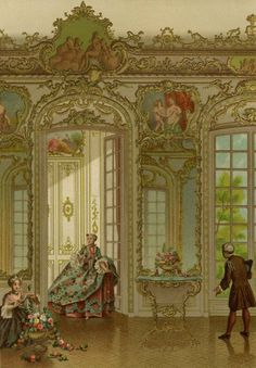 """The XVIIIth Century : its institutions, customs, and costumes, France, 1700-1789 by Paul Lacroix, aka Bibliophile Jacob. Published by Chapman and Hall, London. 1876.  This book is """"Illustrated with 21 chromolithographs and 351 wood engravings, after Watteau, Vanloo, Rigaud, Boucher, Lancret, J. Vernet, Chardin, Jeaurat, Bouchardon, Saint-Aubin, Eisen, Gravelot, Moreau, Cochin, Wille, Debucourt, etc, etc etc"""", and tells a history through illustrations of the 18th Century in France, up to the…"""
