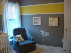 yellow and grey - i am thinking vertical stripes rather than
