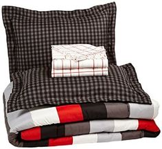 Pinzon 7-Piece Bed In A Bag - Full/Queen, Red Simple Stripe -   - http://homesegment.com/home-kitchen/pinzon-7piece-bed-in-a-bag-fullqueen-red-simple-stripe-com/