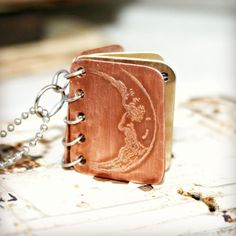 Book Pendant - I Love You to the Moon and Back - Stamped Copper and Brass with Etched Cover - Can Be Personalized - Mother's Day