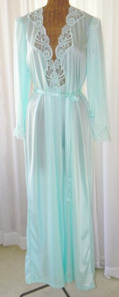 8a9a0a5a06 Vintage Olga Sea Foam Green Peignoir Set by Voilavintagelingerie Vintage  Nightgown
