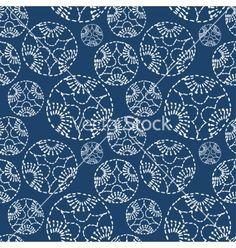 Hand drawn seamless indigo folk pattern vector by MsMoloko on VectorStock®