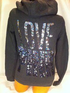 <3<3 Love Pink , Victoria's Secret Pink, grey - sparkle hoodie
