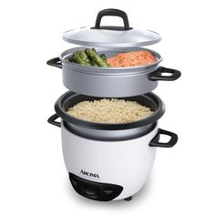 Enjoy easy home cooking with the Aroma (Cooked) Pot Style Rice Cooker and Food Steamer. Delicious one- Aroma Rice Cooker, Rice Cooker Steamer, Rice Cooker Recipes, Steamed Meat, Steamed Vegetables, Steamed Shrimp, Cooking Gadgets, Kitchen Gadgets, Kitchen Appliances