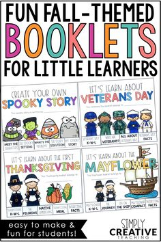 Students create digital or printable an informational, tab booklet all about the Mayflower, the First Thanksgiving, Veterans Day, and create a spooky story! Use in Google Slides, Google Classroom, or Seesaw. They will use each booklet to learn about the the first Thanksgiving and other Fall holidays. These Thanksgiving & Halloween writing activities are perfect for kids to use in the writing center. Teachers can add these to classroom lesson plans easily with any non fiction informational text!