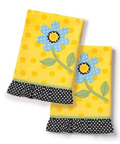 Take a look at this Dots & Daisies Tea Towel - Set of Two by DEMDACO on #zulily today!