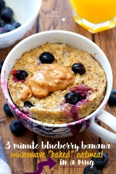 The three minute Blueberry Banana Microwave Baked Oatmeal in a Mug is the perfect recipe for those of you with little time for breakfast or anyone having to do their cooking without a stove.