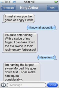 haha... {Arthur's text to Merlin... ha.}