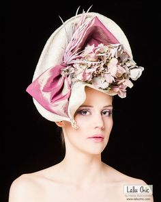 Couture Hat Henley Regatta Kentucky ROYAL ASCOT 2013 Races Derby Party Wedding Bow Hydrangea Feathers Pearls Extravagant Headpiece
