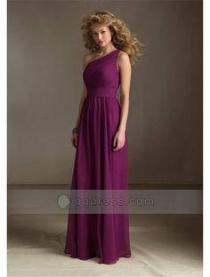 A-Line One-Shoulder Pleated Floor-Length Bridesmaid Dress