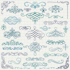 Vintage hand drawn swirls ornaments with corner vector 02