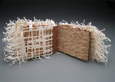 "Single Sheet Binding by Theresa Marr. 3.75"" x 6"" x 3"" Bronze, Handmade Abaca Lace Paper, Veneer, Linen Thread 2010"