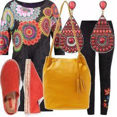 I fiori sono il motivo dominante di questo outfit: li troviamo nei leggings e nella casacca lunga. Rosso e giallo per gli accessori: rosse le espadrillas e gli orecchini a pendente, gialla la borsa a secchiello con péneri.